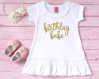 Birthday babe dress - Birthday babe outfit - Birthday girl outfit - Birthday dress - Toddler birthday dress - White and gold birthday