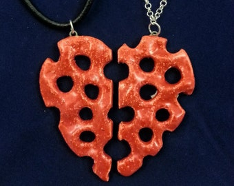 Pair of Unique Handmade Red Glazed Ceramic Pottery Clay Pierced Half of One Heart Pendants (10, 12)