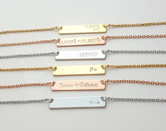 Bar Necklace, Personalized Necklace, Rose Gold, Gold, Silver Necklace, Thin Gold Chain, Gift for Her, Girlfriend Gift, Stamped Necklace