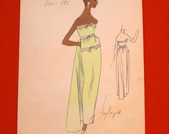 Vintage Haute Couture Original Hand Painted Designer Fashion Sketch / VTG Fashion Illustration Designer Drawing Artwork Art Mint Green Dress