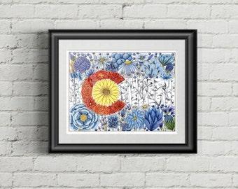 Colorado Flag - Flowers and Aspens - Colored Pencil - Hand drawn - 8x10 Print - Illustration - Colorado Art