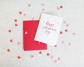 Happy Valentine's Day Calligraphy Foil Greeting Card