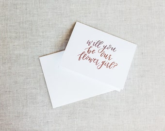 Will You Be Our Flower Girl - Calligraphy Foil Wedding Card