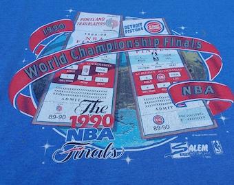 Vintage 90's 1990 Detroit Pistons vs. Portland Trailblazers World Championship Finals NBA blue Salem Sportswear t-shirt XL