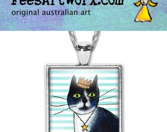 Handmade Black and White Cat Pendant, Black Cat Necklace, Black Cat Jewelry, Cat Jewellery, Cat Mum Gift, Cat Stuff, Whimsical Cat, Necklace