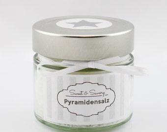 Pyramidensalz weiß 100g, Gourmet-Salz, Fleur de Sel, Fingersalz, Salz, ideal als Geschenk zum Grillen Kochen für Sie und Ihn