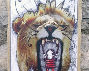 Print-girl with lion-print from original design-wooden frame-brave-against fear-brave girl-strong girl-art