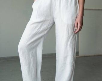 White linen wide leg  pants with elastic waist, loose fit pants, linen trousers, summer linen pants, comfortable pants, linen harem pants