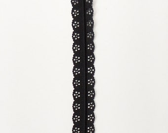 "Black 12"" lace zipper - Black zippers - 12"" Zippers - Lace Zippers - Ykk zipper - Bag zippers - Purse zipper - Dress zipper - Sewing notions"