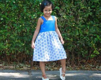 2t to 5t Ready to Ship Dress, Girls Cotton Dress, Girls Blue Dress, Girls Summer Dress
