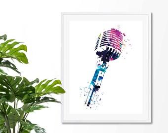 Microphone  Fine  Art Print, Poster, Wall Art, Home Decor, Kids Wall Art, Play Room Wall Art, Archival Art print