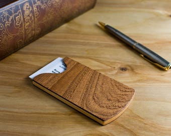FLASH SALE Handmade Wooden Business Card Holder Sapele