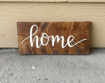 Home Sign | Custom Wood Sign | Home Sweet Home | Rustic Decor | Farmhouse | Housewarming | Hand Painted | Hand Lettered