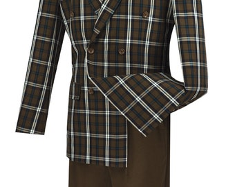Classic-fit double breasted men's suit 2 piece brown suit fancy window pane new with tag