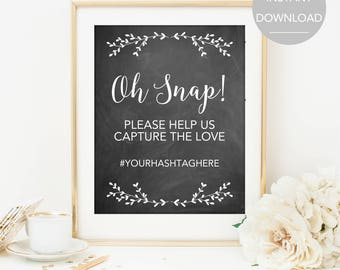 Wedding Hashtag Sign, Hashtag Wedding Sign, Printable Hashtag Sign, Instant Download Hashtag Sign, Hashtag Sign Template, Hashtag Sign PDF