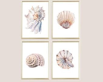 Watercolor print shell sea ocean painting poster SET of 4 wall art decor bathroom decor download print poster
