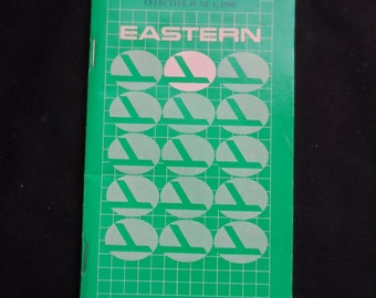 FREE SHIPPING in USA Eastern Airlines Memorabilia  Vintage 1990 System Timetable Effective June 1, 1990  Eastern Airlines Collectible 1052