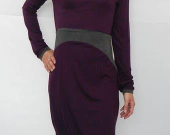 Jersey dress, asymmetrical pattern, winter dress, Goa