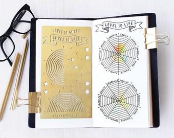 Planner Stencil, Bullet Journal Stencil, Level 10 Life Stencil - fits A5 journal & Midori Regular (Level 10 L)