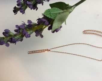 Rose Gold necklace/Delicate Rose Gold plated chain/necklace/ Rose Gold12mm long CZ bar pendant/sterling silver/rose gold plated /bar/stick/