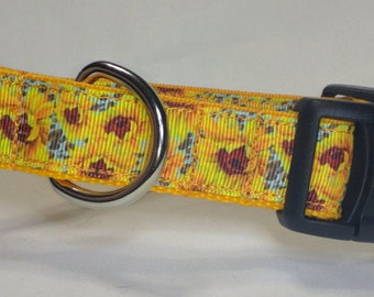 Sunflowers Dog Collar -  Bright Spring Collar - FREE Shipping