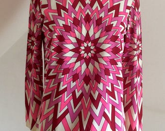 Vintage 60s Tunic MOD Vivid Psychedelic Design Asymmetric Hem Rare Mr Dino of Florida Collectors Item UK 12.
