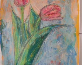 """Pastel Pink Spring Tulips Original Acrylic Painting with Graphite 18x24"""" on paper. Impressionism. Green Pink Orange Blue Two Tulips Blooming"""