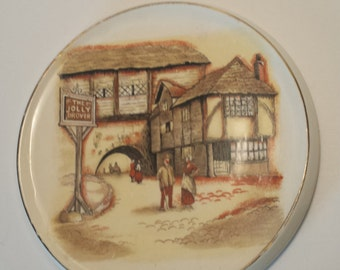CLEARANCE Vintage SANDLAND WARE Trivet, Straffordshire England, London Decor, Ceramic Display Plate