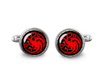 Game of Thrones Cuff Links Targaryen Dragons Cuff Links 16mm Cufflinks Gift for Men Groomsmen Novelty Cuff links Fandom Jewelry