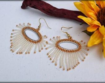 Beaded Hoop Earrings,White and Golden Oval Fringe Hoop Earrings,Large Hoop Earrings,Modern Earrings,Seed Bead Earrings,Gift for her