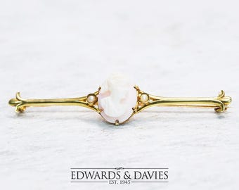 Cameo Pearl Gold Pin Brooch | Cameo Pin Brooch | Gold Lapel Pin | Antique Jewelry | Antique Jewellery | Antique Brooch | Antique Pin | Cameo