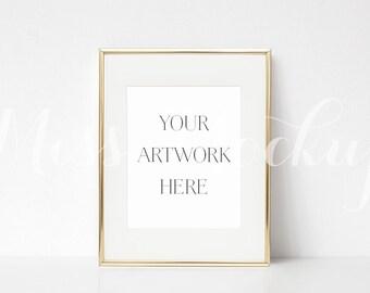 8x10 DIGITAL Gold Frame Mockup (Portrait) - Stock Photo, Styled Photography, Mock up, prints, illustration, INSTANT DOWNLOAD