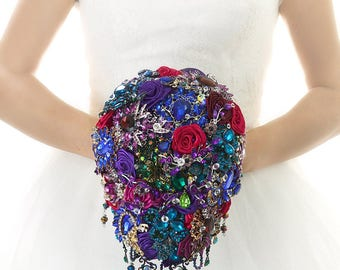 Bridal Bouquet Brooch Bouquet Wedding Bouquet Dress Wedding Crystal Bridesmaids Bouquet Cascading Bouquet Wedding Purple Jewelry Bouquet