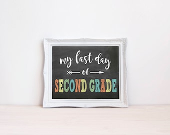 "Last Day Of Second Grade Chalkboard Sign || 8""x10"" DIGITAL DOWNLOAD Last Day Of School Chalkboard Printable 