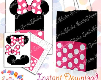 Printable Minnie Mouse Favor Bags Digital Treat Bag Minnie Pink Color Design Goody Bags Birthday Party Decoration Instant Download Gift Box