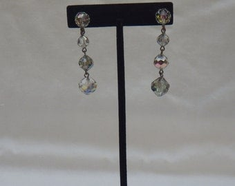 Vintage Clip On Silver Earrings with Clear Disco Ball Shape Jewels