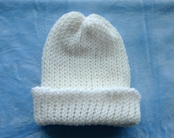 White Reversible Loom Knit Hat FREE SHIPPING