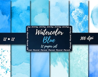 Blue Watercolor Digital Paper set Blue digital paper Blue Watercolor scrapbooking paper Watercolor splash Blue Watercolor digital Background