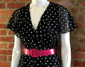 Vintage 60's Black and White Polka Dot Dress with Bubble Hem; 40's style