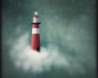 Bathroom Art, Lighthouse Print, Lighthouse Art, Nautical Art, Red & Green Art, Nautical Print, Nursery Decor, Dreamy Art, Photography Prints