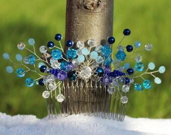 Blue hair comb Bridal hair comb Wedding hair comb Hair combs Comb for hair Beaded hair comb
