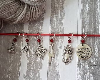 Harry Potter Inspired Stitch Marker or Progress Keeper single or set of 6 for Crochet or Knit, Zipper Pull, Knit Crochet Accessory SMS749