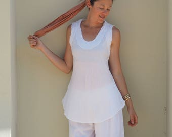 Gauze Cotton Tank in WHITE // Breathable, Weightless, Natural Fiber
