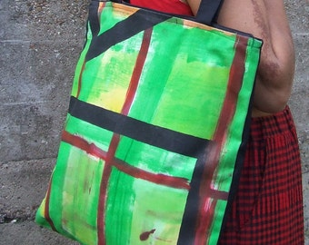 Green Hand Printed Tote Bag