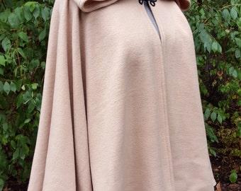 Short Fleece Cloak - Camel Tan Full Circle Cloak Cape with Hood