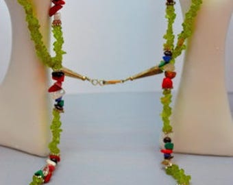 Assorted Stone Chip Necklace,Peridot Chips, Malachite, Turquoise, Lapis, Red Coral, Black Stone Chips (G241)