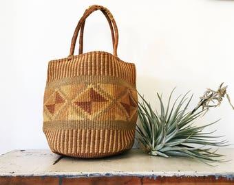 70's Woven Fiber Market Tote // Vintage purse, vintage bag, sisal, geometric