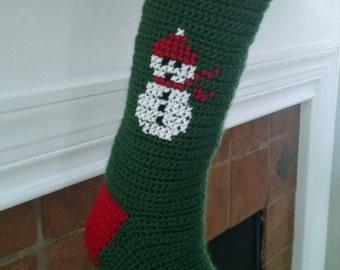 Crocheted Christmas Stocking, Christmas Stocking, Snowman Stocking, snowman Christmas stocking