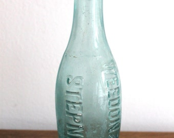 Vintage Antique Weedon And Co Stepney Aqua Round Glass Bottle