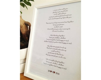 Personalised Lyrics Framed Print